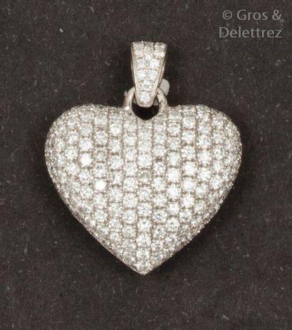 Pendentif «?Cœur?» en or gris, intégralement...