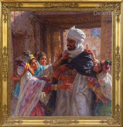Étienne DINET (1861-1929) Jour de fête, fillettes demandant la récompense à l'occasion...