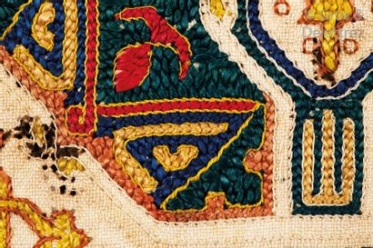 Une Broderie ou fragment de broderie Nasride, Atelier Andalou-Marocain, vers 1480...