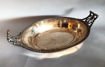 BANNETTE ovale en métal argenté à prise palmettes...