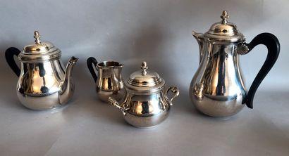 SERVICE à thé café balustre en métal arg...
