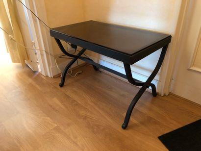 TABLE de canapé en fer forgé en X, plateau...