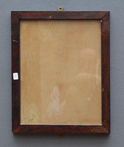 CADRE en chêne ciré à profil plat.  Début du XXème siècle.  35 x 27 x 3 cm