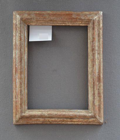 Petit CADRE à profil renversé en bois mouluré et argenté  Italie, XVIIIème siècle...