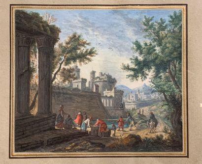 Attribué à Adam PERELLE (1640-1695)  Scène...