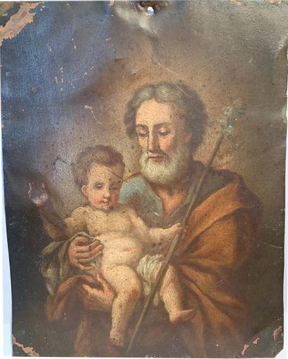Ecole du XVIIIème siècle  Saint Joseph et...
