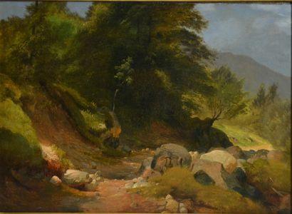 Niels Simonsen (1807 - 1885)  Chemin de montagne,...