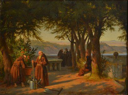 Peter Raadsig (1806 - 1882)  Moines sur la...