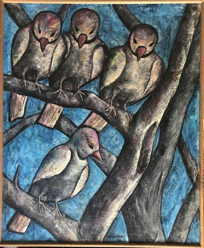 MBAUDA (Tanzanie XXème siècle)  Quatre oiseaux...