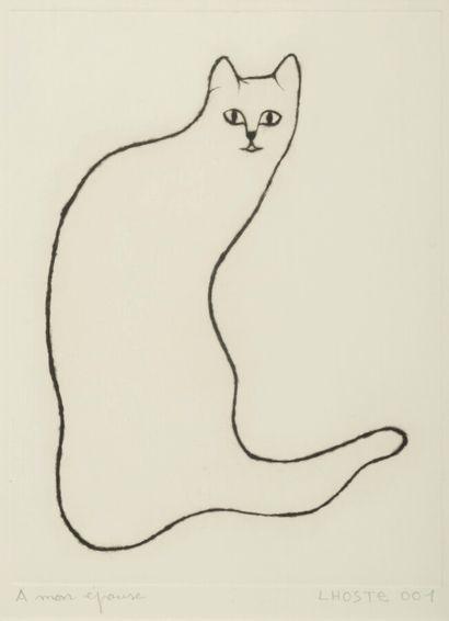 LHOSTE  Le chat  L'eau-forte  n°001