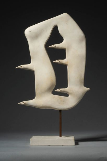 LHOSTE  Oiseau plat cinq têtes  Plâtre  Haut...