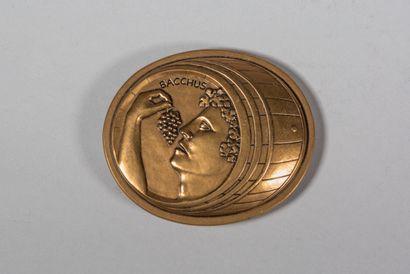 LHOSTE  Bacchus  Médaille en bronze à patine,...