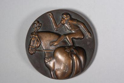 LHOSTE  Le cirque  Médaille en bronze à patine...