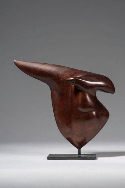 LHOSTE  L'aile et la tête  Bronze à patine...
