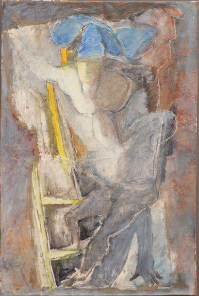 E. CHABIN  Echelle de jacob, 1992  Huile...
