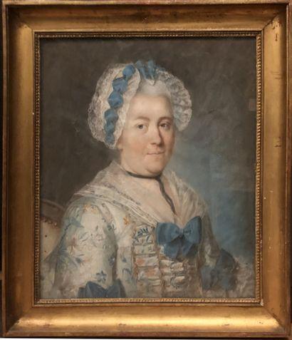 Ecole FRANCAISE vers 1770  Portrait de Marie Elisabeth de Bled  Pastel  58 x 48...