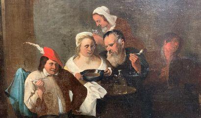 Matheus van HELMONT (Anvers 1623 - Bruxelles vers 1679)  Tabagie  Toile signée en...