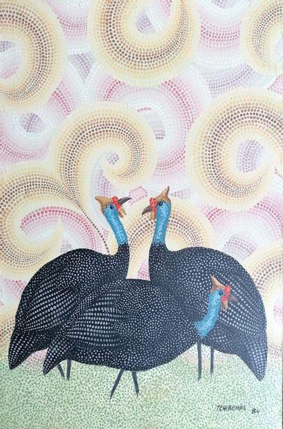 TCHIBEMBA Ngandu Mbsel (Léon)  Marabouts et Pintades, 1984  Deux huiles sur toile...