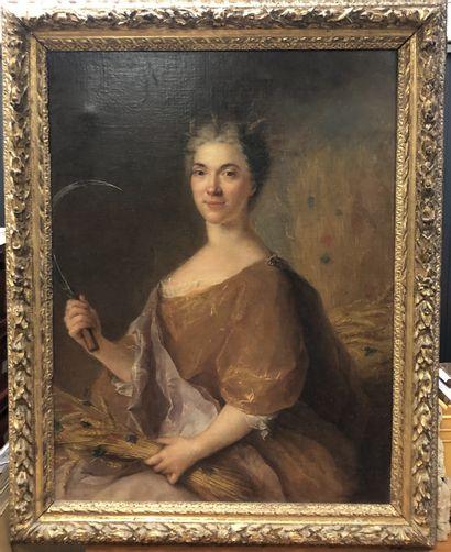 François de TROY (1645-1730)  Portrait de dame en Cérès  Toile  Cadre en bois sculpté...