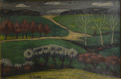 EVEN André (1918-1996)  Paysage  Technique mixte sur papier marouflé sur toile signée...