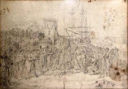Ecole française vers 1780 1800  L'arrivée...