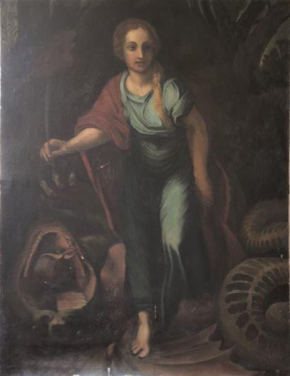 Ecole Italienne XVIII XIXème siècle  Sainte Marguerite terrassant le dragon  Huile...