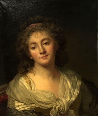 École FRANÇAISE du 19è d'après Madame Bouillard  Autoportrait  Toile d'origine  56...