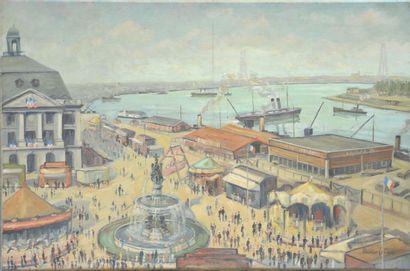Maurice LEBLANC (1864-1941)  Port de Bordeaux,...