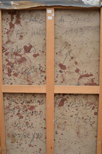 E. CHABIN  Echelle de jacob, 1992  Huile sur toile signée et datée en bas à gauche...
