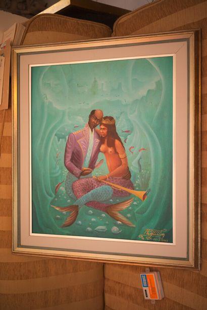 AUGUSTIN Pierre (1945)  Amour aquatique  Acrylique sur toile signée en bas à droite...