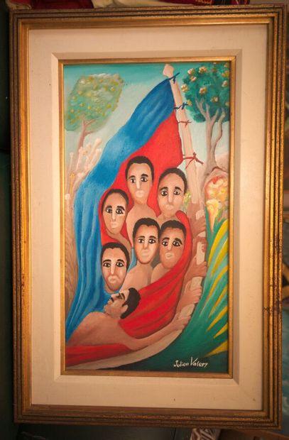 VALERY Julien (1958 - 2001)  Haïti  Acrylique sur toile signée en bas à droite  61...