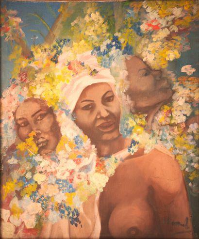Des femmes et des fleurs  Acrylique sur toile signée en bas à droite  60 x 50 cm...