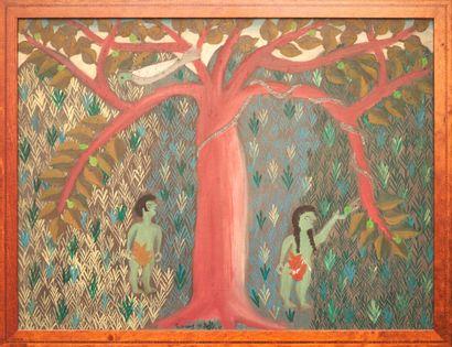 ROCHER Camy (1959 - 1981)  Adam et Eve  Peinture sur isorel signé au milieu en bas...