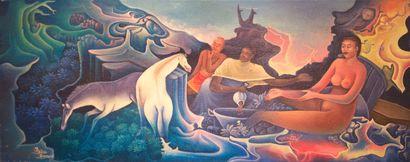 DOMOND Ézène (1956)  Guérison  Acrylique sur toile signée en bas à gauche  21 x...