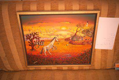 SAINT-JEAN Fritz (1954 - 2017)  Imploration  Acrylique sur toile signée en bas à...