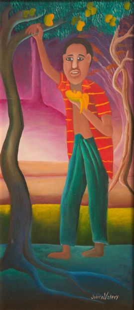 VALERY Julien (1958 - 2001)  Une mangue fraîche  Acrylique sur toile signée en bas...