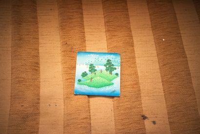 Île paradisiaque  Acrylique sur isorel signé en bas à droite  10 x 10 cm    Note...