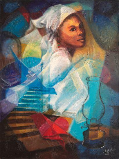 CHARLES Etzer (1945 - 2021)  Oiseau-passage  Acrylique sur toile signée en bas à...