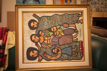 SAINT-HUBERT Roland (1951)  Loas  Acrylique sur toile signée au milieu en bas  62...