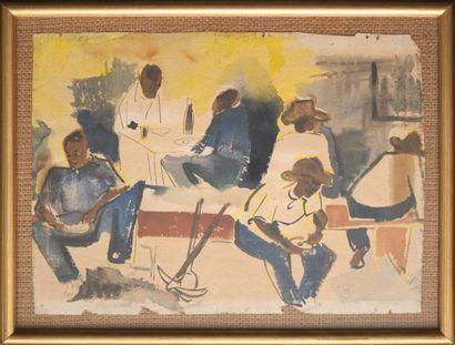 LAZARD Luckner (1928 - 1998)  La pause  Aquarelle sur papier signée en bas à droite...
