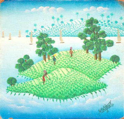 Île paradisiaque  Acrylique sur isorel signé...