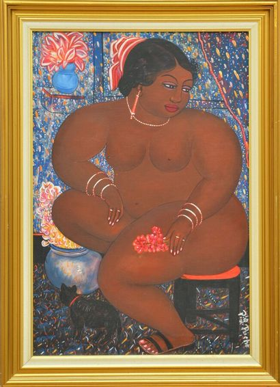 RICHÉ Pierre-Louis (1954)  Doriska  Huile sur toile signée en bas à droite  60 x...