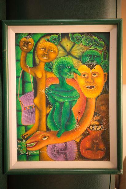 ANNISEY Roi-David (1967)  Cousin Zaka  Huile sur isorel signé en bas à gauche  40...