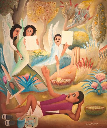 VALERY Julien (1958 - 2001)  L'artiste recevant...
