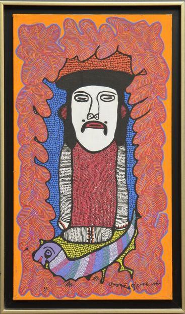 PIERRE-LOUIS Prospère (1947 - 1995)  Loa au chien  Acrylique sur toile signée en...