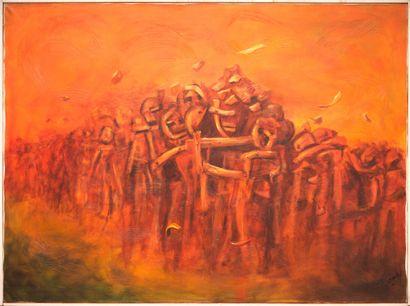 CHARLES Etzer (1945 - 2021)  Haïti: montée au calvaire  Acrylique sur toile signée...