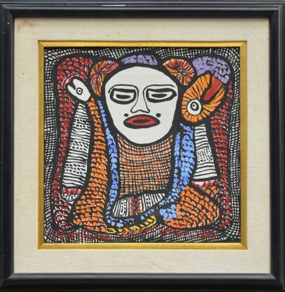 PIERRE-LOUIS Prospère (1947 - 1995)  Loa  Acrylique sur toile signée en bas  30...