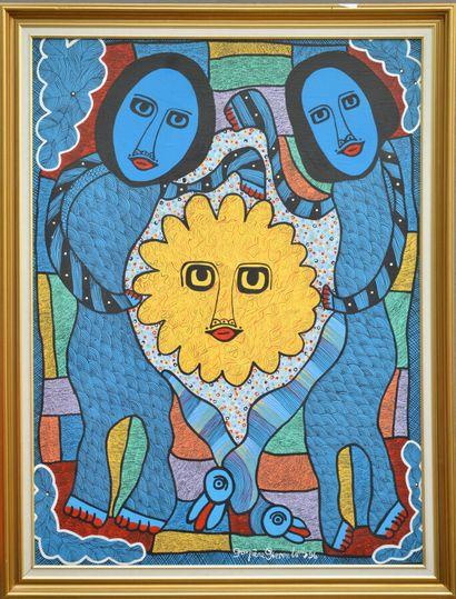 PIERRE-LOUIS Prospère (1947 - 1995)  Saint-Soleil et ses loas  Acrylique sur toile...