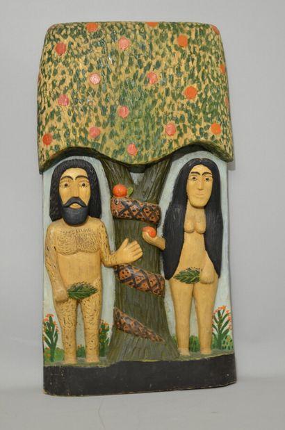 La tentation d'Adam et Ève  Bois sculpté et peint  27 x 7 x 51 cm