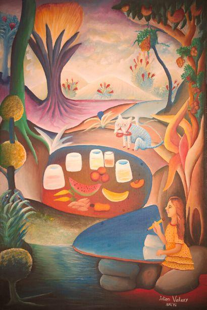 VALERY Julien (1958 - 2001)  Écolière  Acrylique sur toile signée en bas à droite...